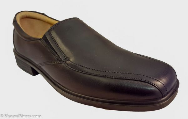 Smart leather mens slip on black leather.